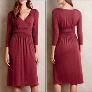 Anthro Maeve Galena Faux Wrap Dress Plum Sz Small